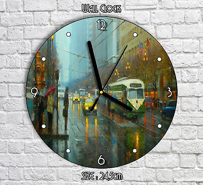 American City Raining Painting Artwork - Round Wall Clock For Home Office Decor