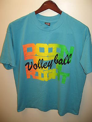 Volleyball Doin' Right Vintage Retro 1980s Jahre Day Glo Wham Strand T-SHIRT XL