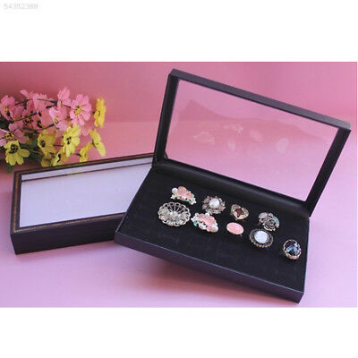 D4A8 36SlotsBlackVelvetRingsJewelryShowcase Display Case Box Holder Organizer