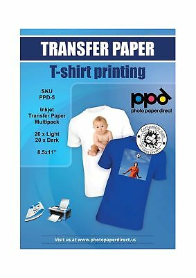 "PPD Inkjet Iron-On Mixed Light and Dark Transfer Paper LTR 8.5 x 11"" Pack of ..."