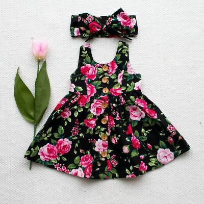 CN_ Toddler Infant Kids Baby Girls Summer Floral Dress Princess Party Dresses