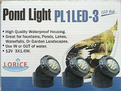 SET OF 3 LED pond lights, WIDE SPREAD, 36LEDS