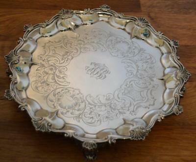 Very Heavy Daniel & Charles Houle 1873 Victorian Sterling Silver Salver Tray