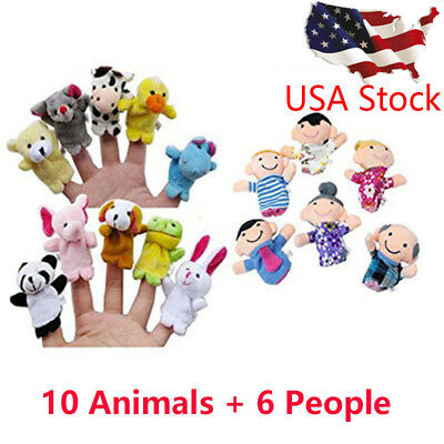16PCS Finger Puppets Animals (10) People (6) Family Members Educational Toy LK