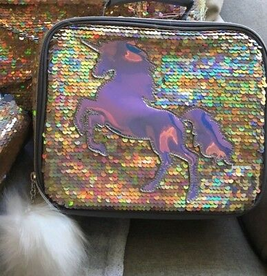 Justice Gold Unicorn Flip Sequin Lunch Tote Lunch Box Girls New