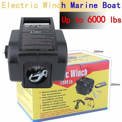 Heavy Duty 6000Lbs Boat Trailer Winch 12V Recover  Remote Electric Quad Puller