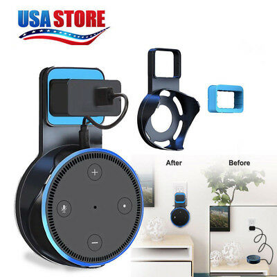 Outlet  Wall Mount Stand Holder Stand & Cable For Amazon Alexa Echo Dot 2 Black