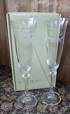 Galway Crystal Champagne Flutes Bride & Groom Wedding Gift New G30011/2
