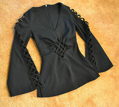Black V neck Long Sleeve Blouse Top Shirt Witch Medieval Goth Corset Halloween