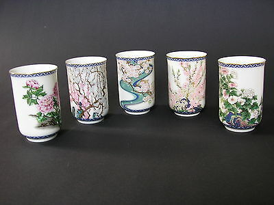 JAPAN 1981*POR. SET 5tlg.*BECHER*TEEBECHER*MALVE*PFINGSTROSE*HANDBEMALT*ASIATIKA
