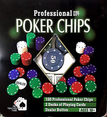 Set Da Gioco Poker Fiches Chips 100 Fiches Con Carte Texas Holdem