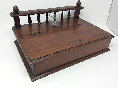 Large Antique Victorian Writing Slope Stationery Box H16.5 x W25 x  L36 cms