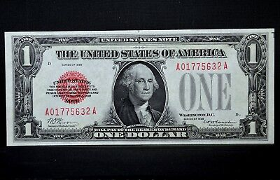 1928 $1 United States Notes ✪ Gem Uncirculated ✪ Unc Cu Red Seal 632 ◢Trusted◣