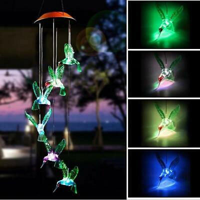 Outdoor Solar LED Color Changing Hummingbird Wind Chime Light Garden Night Lamp