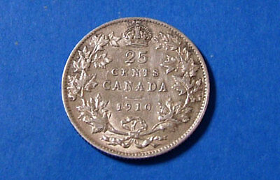 1910 XF Edward VII Sterling Silver Canadian Quarter 25 Cent Canada Coin