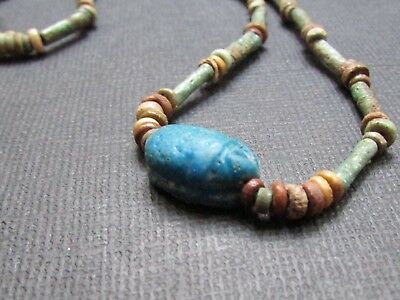 NILE Ancient Egyptian Scarab Amulet Mummy Bead Necklace ca600 BC