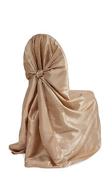 10 PACK Champagne Taffeta Universal Self Tie Chair Cover - Champagne Used Clean
