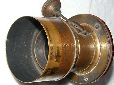 Cox London old brass lens with rack focusing. Reg No.1744. Made in England