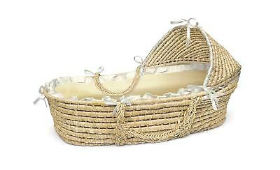 Badger Basket Natural Moses Basket with Hood, Beige Gingham Bedding