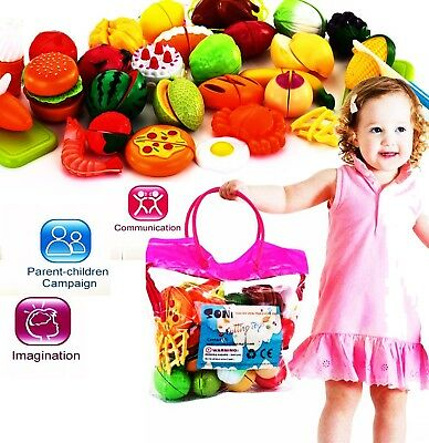 32Pcs Fruits Vegetable Food Toy Child Kids Pretend Role Play Plastic Cutting Set
