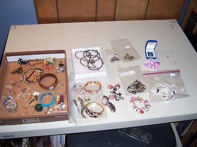 Mixed Lot of Vintage, 10 Kt Gold,  Silver, Fossil Watch, Murano, Costume Jewelry