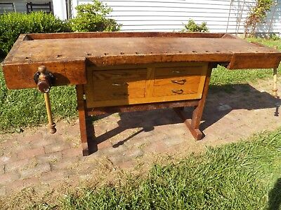 Antique 1800's Woodworkers Wood Bench 2 Vises Kitchen Island Work Table Desk