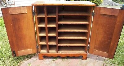 """Primitive Music Cabinet 16 compartments Small size 29"""" high Rustic Antique"""