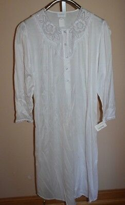 NWT HANRO Of Switzerland Long White Nightgown XS 100% Mercerized Cotton Vintage