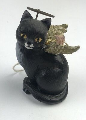Vintage Black Cat Mouse Angel Wings Ornament Christmas