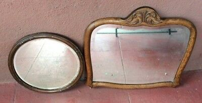 2 Antique Wood Mirrors Circle And Rectangular Pick Up Only In Los Angeles