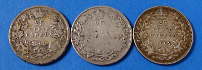 3 Piece Lot 1903 1907 1936 Dot Silver Canadian Quarter 25 Cent Canada Coin