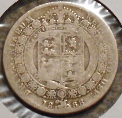 British Silver Half Crown - 1888 - Queen Victoria - $1 Unlimited Shipping