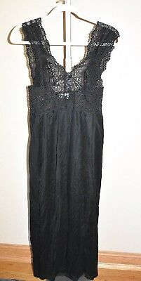NWT HANRO Of Switzerland Long Black Nightgown M 100% Mercerized Cotton Vintage