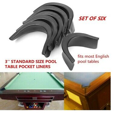 "6 x Rubber Pool Table Pocket Liners to fit 2"" Ball Standard Size English Tables"