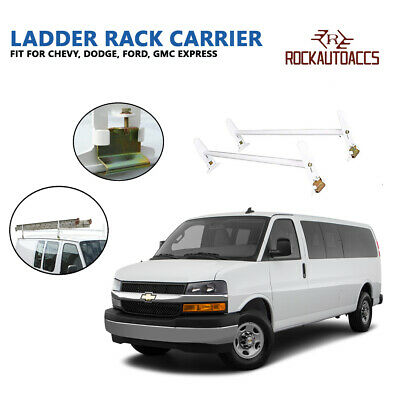 Adjustable Van Roof Ladder Rack 500LBS 2 Bars Chevy Dodge Ford GMC Express 77''