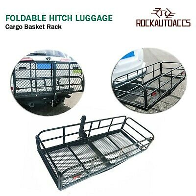 "60"" x24"" Foldable Hitch Cargo Basket Hitch Cargo Carrier Mounted Cargo Basket..."