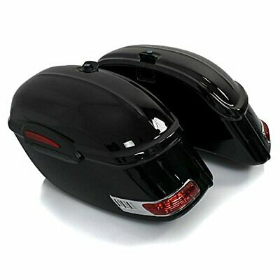Motorcycle Saddlebags Chopper Sidecases LED (pair), each 33 liters, black
