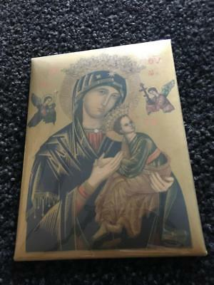 Vintage Religious Celluloid Tin Plate Picture/ Mary  /our Lady & Baby Jesus