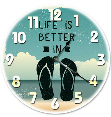 12 Life Is Better In Flip Flops Clock Large 12 Inch Wall Clock