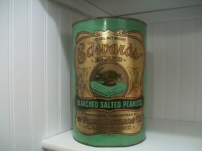 Edwards Peanut Tin Ten Pound Can Antique Advertising Country Store Not Planters