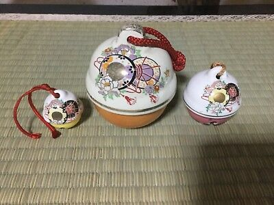Japanese ceramic bell, Beautiful TSUZUMI drum instrument design (3/set)