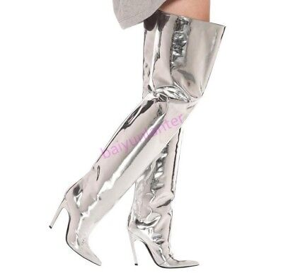 Womens Patent Leather 12cm High Heel Over knee high Boots Sexy Show wear Shoes S