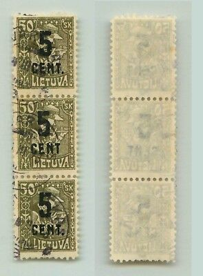 Lithuania 1922 SC 146 used no dot after cent strip of 3 . f3117