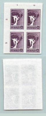 Lithuania 1990 SC 372 MNH proof block of 4 thick paper . f2705