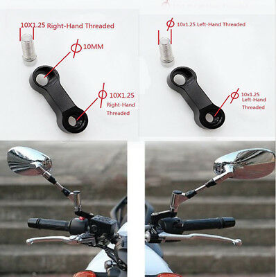 2pcs Black 10mmx1.25 CNC Motorcycle Mirror Extender Riser Extension Bracket