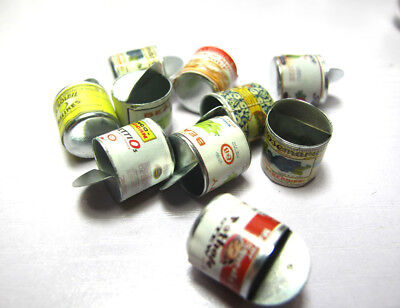 2pc Dollhouse Miniature Kitchen Mixed Tin Canned Food Groceries Cans 1:12 Random