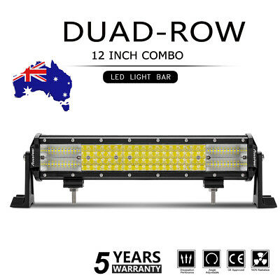 12inch LED Work Light Bar Flood Spot Combo Beam Offroad Driving Amber White 4WD
