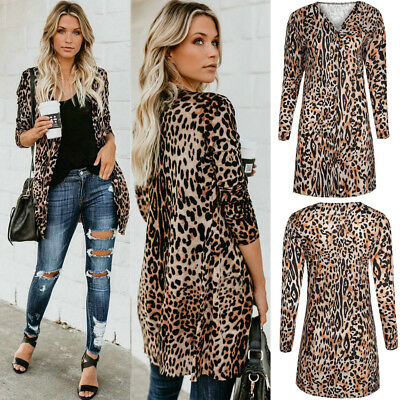 e7209d1dcf11 Hot Women's Autumn Leopard Print Sweater Cardigan Coat Jacket Long Sleeve  V-neck