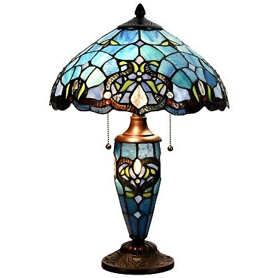 Tiffany Style Blue Lampshade Victorian Double Lit Stained Glass Desk Lamp Home