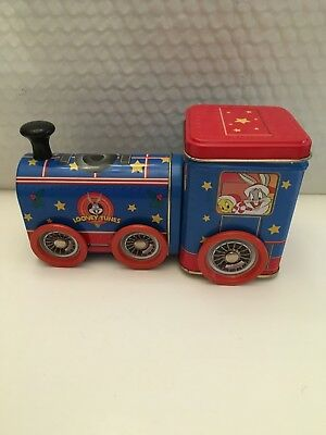 Warner Brothers Looney Tunes Train w. Wheels Tin Metal Box Storage Container